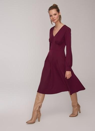 People By Fabrika Bel Detaylı Elbise Mürdüm